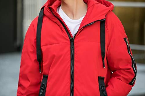 Hiver Manteau Dhyzz Longue Veste Fourrure Épais rouge À Parka Doudoune Capuche Homme 118 dYwqSY