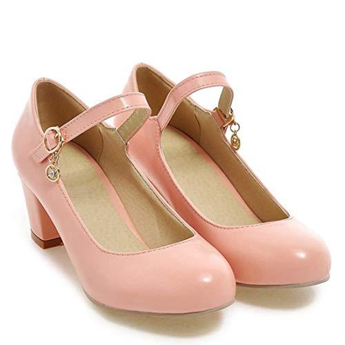 Rose Carre Bout Ye Shoes Jane Chunky Rond Cheville Mary Petit Court Femme Bride Talon Chaussure Escarpins Bloc Automne 6cm Boucle Heels qqgW1wvRx6