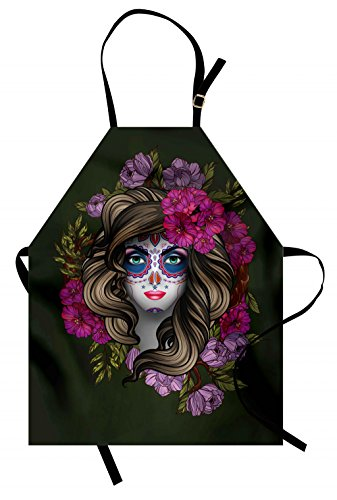 (Lunarable Makeup Apron, Calavera Day of The Dead Mexican Sugar Skull Faced Woman with Floral Head Halloween, Unisex Kitchen Bib Apron with Adjustable Neck for Cooking Baking Gardening,)