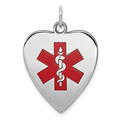 925 Sterling Silver Engraveable Enameled Small Heart Medical Alert Pendant Charm Necklace Fine Jewelry Gifts For Women For Her