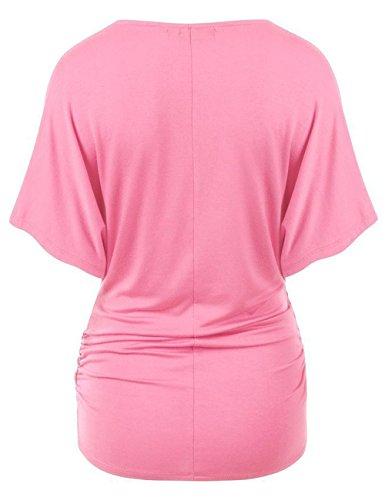 Unita Pipistrello Camicie Tops Fashion Basic Camicetta Simple Fashion V Tinta Sexy Rosa a Blouse Scollo Donna Blusa Estivi Manica xpSxHwnA