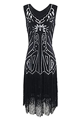 Etuoji Women Sleeveless 1920s Style Sequined Fringe Bodycon Flapper Dress