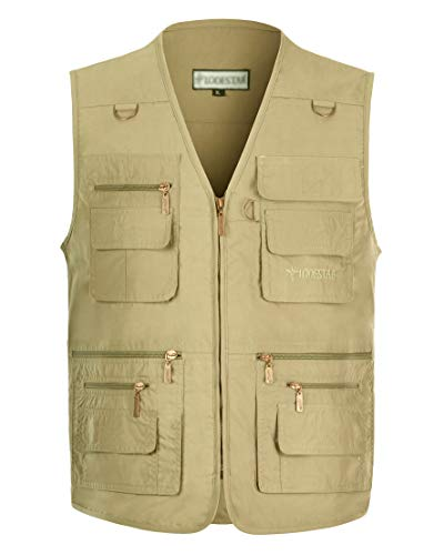 Gihuo Men's Summer Outdoor Work Safari Fishing Travel Vest with Pockets (Large, Dark Khaki)