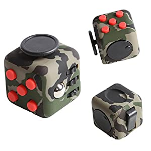Fidget Dice Toy 6 Sides Release Stress Anxiety and Relax for Children and Adults - Green Camouflage