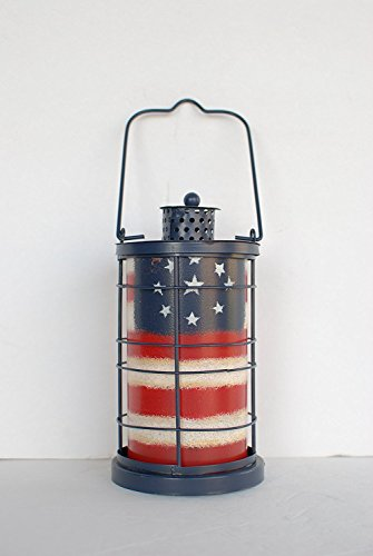 Grace Home Metal Patriotic American Flag Vintage Tealight Lantern 4th of July Candle Lantern Decor (8.5