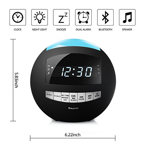 8-in-1 Bluetooth Alarm Clock Radio (Digital) Dual USB Charging Ports,FM Stereo, Dimmable LED Display,Nap & Sleep Timers, Snooze, Multi-Color Night Light (Black)