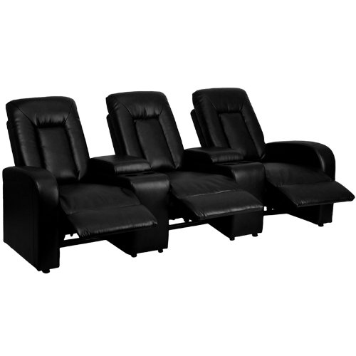 Home Movie Theater Chairs (Flash Furniture Eclipse Series 3-Seat Reclining Black Leather Theater Seating Unit with Cup Holders)