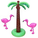 Aneco 3 Pack Inflatable Palm Trees Pink Flamingos for Hawaiian or Summer Poolside Parties