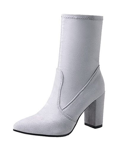 On Solid Gray Pointed Suede AgooLar Toe Pull Boots Heels Imitated Women's High zAnRwqTE