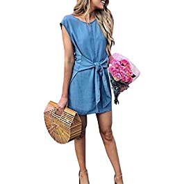 Women's Elegant  Sleeveless Bandage Loose Sexy Denim Bodycon Dress