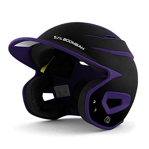 Boombah DEFCON Batting Helmet Sleek Profile Black/Purple - Size Junior 6 1/4