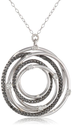 Black Rhodium Plated Sterling Silver Black and White Diamond Circle Pendant Necklace (.50 cttw, H-I Color, I2-I3 Clarity), 18″