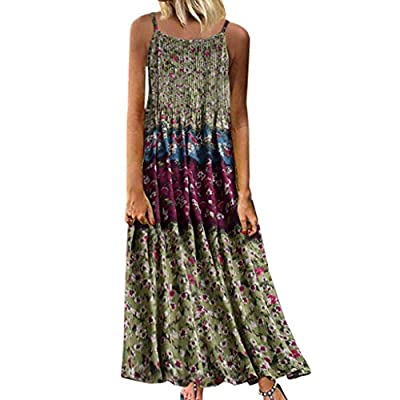 Aniywn Women Vintage Floral Print Maxi Dress Bohemian Spaghetti Straps Plus Size Dress Sleeveless Dresses