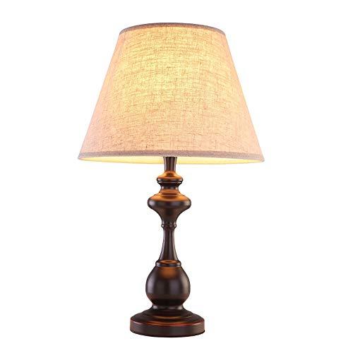 XZHU Lámparas de mesa de hierro vintage, iluminación de tela LED ...