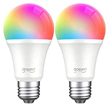 Smart LED Bulb WiFi Light Bulb, Works with Alexa, Google Home and IFTTT, Gosund Dimmable Multicolor A19 65W Equivalent, Remote Control, No Hub Required, RGB 2700K Bulb with Schedule Function (2 PACK).