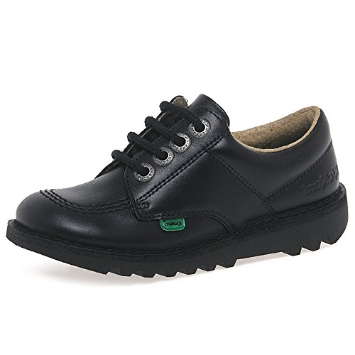 Kickers Kick Lo J Black Leather 35 EU/3.5 M US Big Kid - Kickers Childrens Shoes
