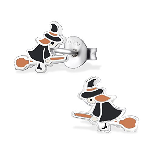 925 Sterling Silver Hypoallergenic Witch on a Broom Stud Earrings 30682
