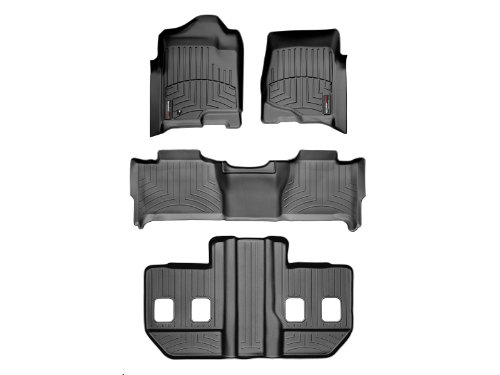 2007-2010 GMC Yukon XL / Yukon Denali XL WeatherTech Custom Fit FloorLiner - Complete Set (1st, 2nd, & 3rd Row Bucket Seats) Black (Floor Liner Complete Set)