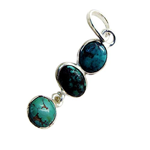 Jewelryonclick Birthstone Pendant Genuine Turquoise Silver For Women Healing Blue Stone Handmade ()