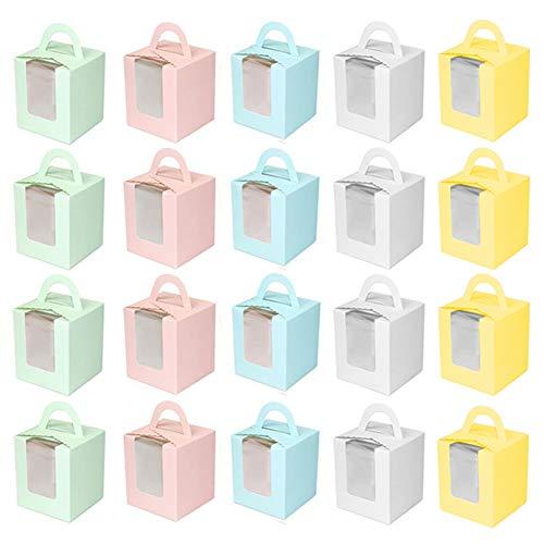 20 stuks Cupcake geschenkdozen, INTVN met handvat en displayvenster grote stevige individuele 9,5 cm x 9,5 cm x 11 cm…