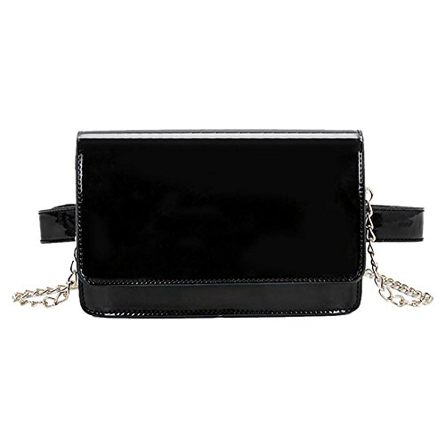 Handbag Pack Chain Women Black Waist Messenger Everpert Shoulder Fanny Holographic xwfqvxn8B