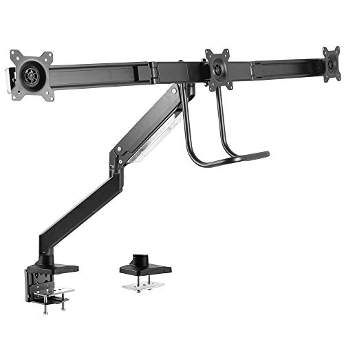 VIVO Premium Aluminum Heavy Duty Arm, Triple Monitor Desk Mount with Pneumatic Spring Height Adjustment and Pull Handle | VESA Stand for 3 Screens 17 to 27 inches (STAND-V101G3)