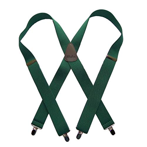 HoldUp Classic Series Dark Green Suspenders in X-back style with Patented Silver-tone No-slip Clips (Silver Tone Clip)