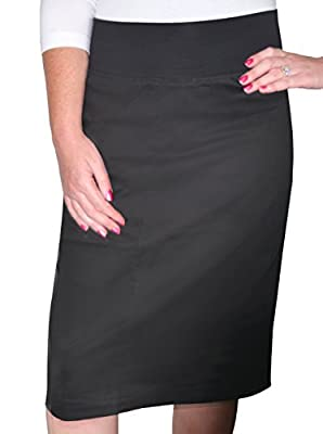 Kosher Casual Women's Modest Knee Length Lightweight Cotton Stretch Twill Pencil Skirt with Stretch Waist