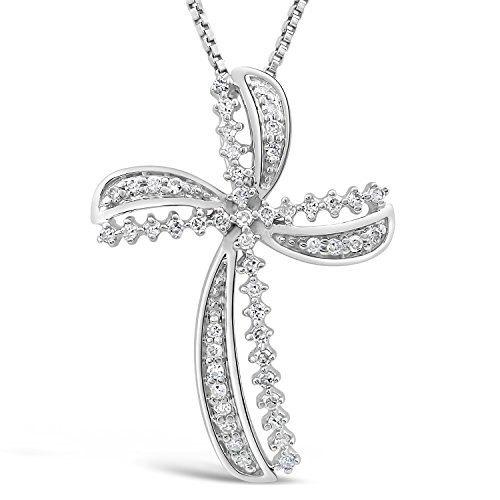 Diamond Cross Necklace in Rhodium Plated Sterling Silver 1/8 cttw