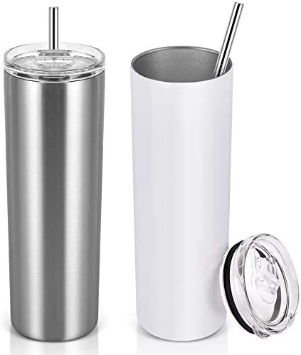 Stainless Steel Skinny Tumbler Set, Insulated Double Wall Travel Tumbler with Closed Lid Straw, Skinny Insulated Tumbler, 20oz Slim Water Tumbler Cup for Coffee Water Hot Cold Drinks, White Sliver