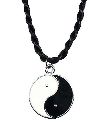 BDJ Silver Tone Enamel Yin Yang Pendant Cord Necklace 18 Inches