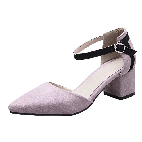 Mee Shoes Women's Charm Buckle Ankle Strap Court Shoes Light Purple b86um
