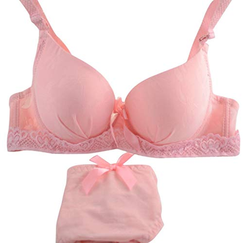 T T Store Sexy Women Underwear Satin Print Bow Lace Embroidery Bra Push Up Sets/Panties Cup (Pink,80B)