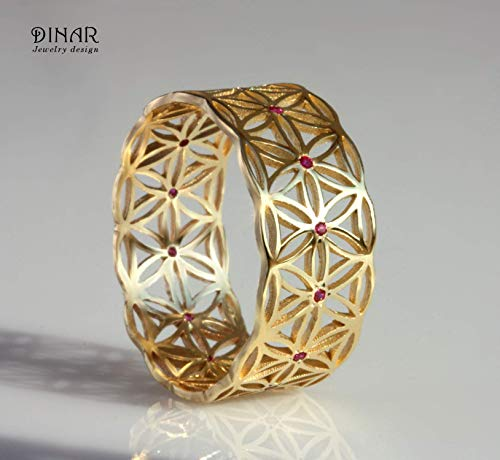 (Flower of life wide filigree bohemain style unique statement gypsy floral boho gold wedding ring band for women rubies diamonds sapphires lace ring 14k 18k solid gold by DINAR jewelry)