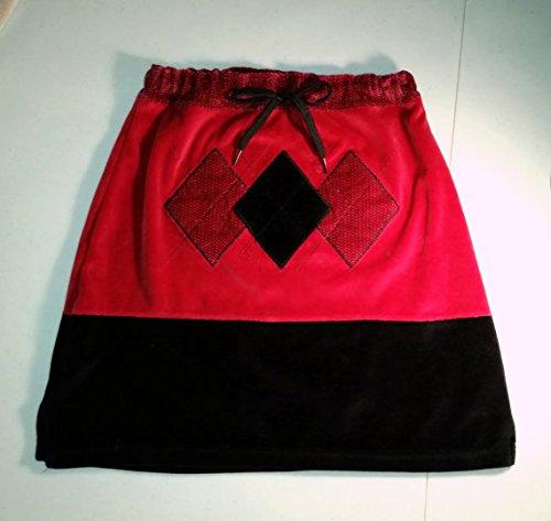 Red and Black Velvet Skirt - UPcycled Skirt - Matching Mittens, Repurposed Skirt, Upcycled Mittens, Upcycled Clothing by Pearl's Homespun