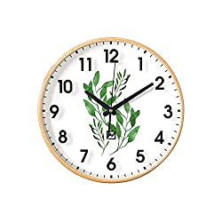 Wall Clock Nordic Style Wooden Decoration Green Leaves Fresh Mute Living Room 12 Inches
