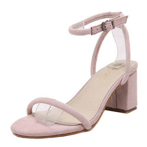 COOLCEPT Zapatos Mujer Clasico Hebilla Al Tobillo Fiesta Vestir Tacon Ancho medio Sandalias Rosa