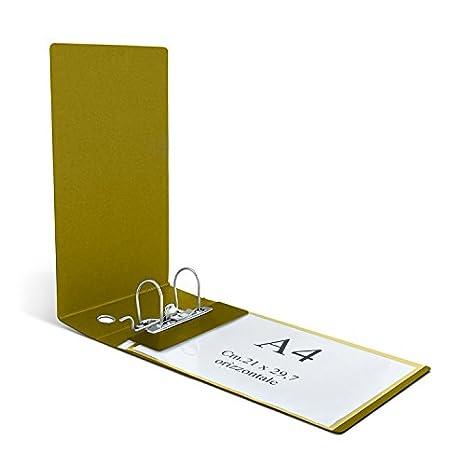 Clam - Archivador para sobres horizontales y folios UNI A4 con lomo de 8 cm y mecanismo de palanca, color Gamuza: Amazon.es: Oficina y papelería