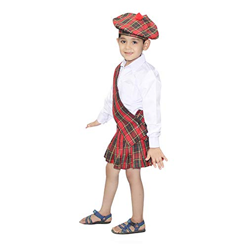Scottish Themed Halloween Costumes (Kaku Fancy Dresses Scottish Boy Costume for Halloween Cosplay Multicolor,5-6 Years,for)