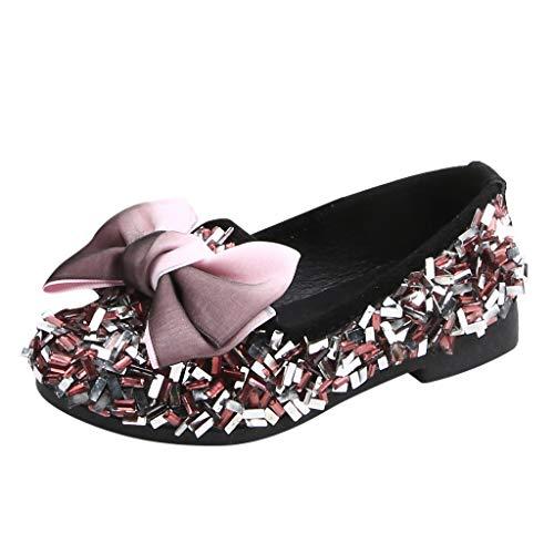 (Tantisy ♣↭♣ Little Princess Crystal Shoes Kids Girls Bowknot Fashion Loafers Mary Jane Shining Princess Shoes)