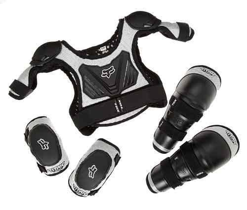 Vigilante Fox Titan Youth Combo Pack - Bundle with Roost Protector, Knee Guards, Elbow Guards for Dirt Bike, BMX, Mountain Bike (Black/Silver, Medium/Large (6-9 Years Old)