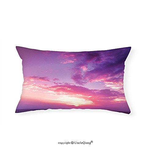 VROSELV Custom pillowcasesApartment Decor Collection Sunset Pink Sky View Lights Coloring the Sky and Clouds Romance Themed Image Bedroom Living Room Dorm Purple Yellow(16