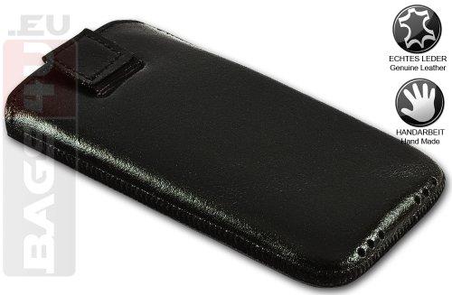 """PLM """"Mersin"""" Schwarz Apple iPhone 4S, iPhone 4 Hülle Tasche Etui Case Ledertasche Pouch - Mit Rausziehlasche, Handarbeit, 100% Passgenau"""
