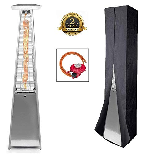 BU-KO Outdoor Patio Gas Heater | Garden, Camp, BBQ Parties | Stainless Steel Pyramid Style 13kw Propane Burner | Portable Wheels, Regulator & Hose | LPG Warm Heating Fire & Water Proof Cover Included