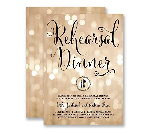 (Wedding Rehearsal Invitations Dinner Party Champagne Bokeh Twinkling Lights & Black Modern Elegant Calligraphy Customized Invites - Mila style)