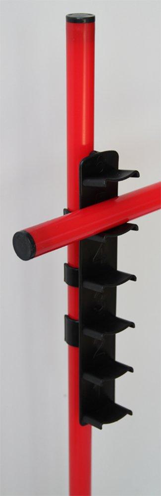 Boje Sport Sprungstangen-Set XS100rl rot Farbe 3 rote Stangen, 2 rote X-Standf/ü/ße, 2 Leiterh/ürden