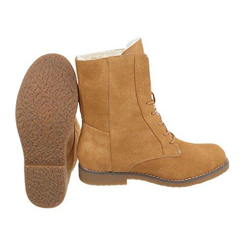 Ital-Design Schnürstiefeletten Damenschuhe Klassischer Stiefel Blockabsatz Schnürer Schnürsenkel Stiefeletten Camel
