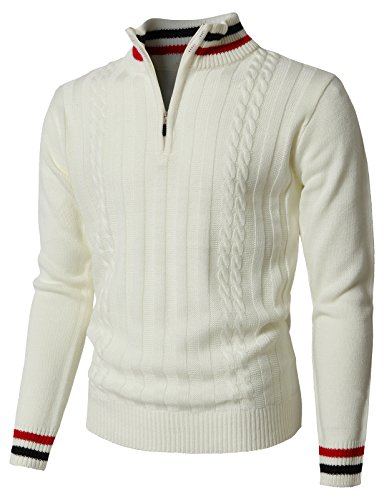- H2H Men's Mock Neck Elbow Patch 1/4 Button Sweater Relaxed Fit White US 2XL/Asia 3XL (KMOSWL0196)