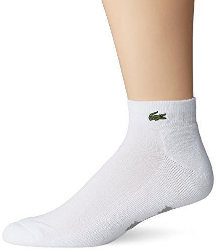 Lacoste Men's Sport Quarter Ped Sock, White/Silver Chine, Sock Size: 6-12/Shoe Size:9-11 Logo Sport Quarter Sock