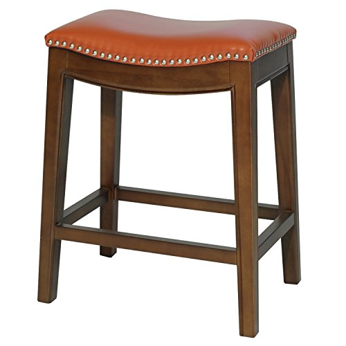 New Pacific Direct Elmo Bonded Leather Counter Stool,Cinnamon Brown Legs,Pumpkin Brown